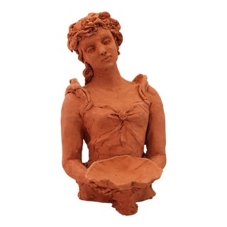 """""""Woman With a Shell"""" Contemporary Figurative Terracotta Sculpture by Sarah Myers For Sale"""