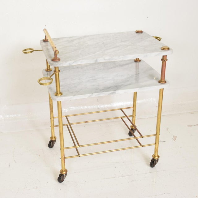 Mid Century Modern Bakery Service Table in Carrara Marble and Brass For Sale - Image 10 of 11
