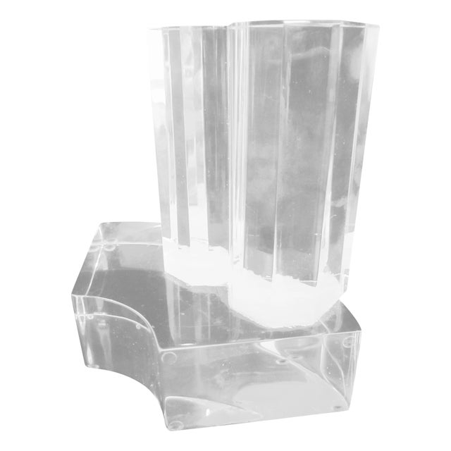Thick Modernist Two-Tiered Lucite Display Art - Image 1 of 9