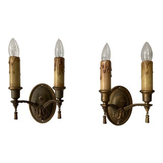 Vintage 1930s Brass Double Arm Wall Sconces - a Pair For Sale