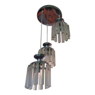 Mid Century Modern Glass Flush Chrome Mount Ceiling Light For Sale