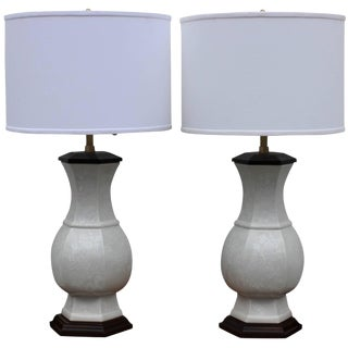 Pair of Blanc De Chine Table Lamps by Marbro For Sale