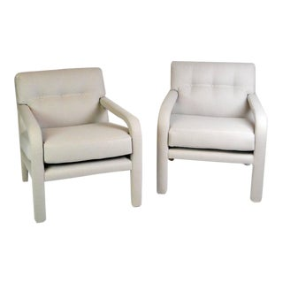 Milo Baughman Fully Upholstered Armchairs - A Pair For Sale