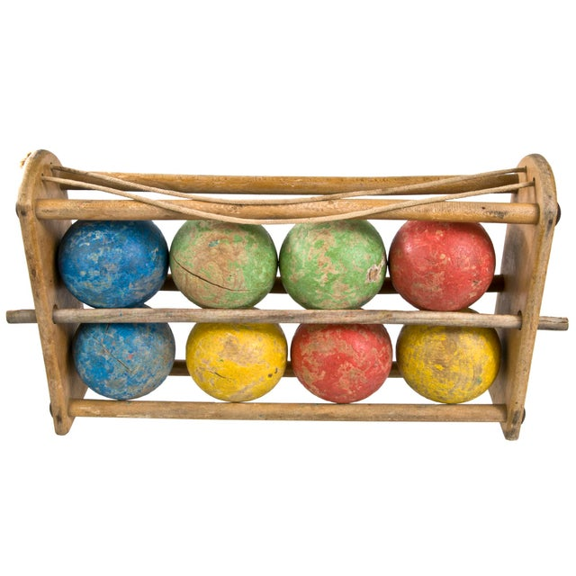 French Wood Boules In Carrier - Image 1 of 3