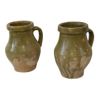 Glazed Pottery Jugs, Set of 2 For Sale