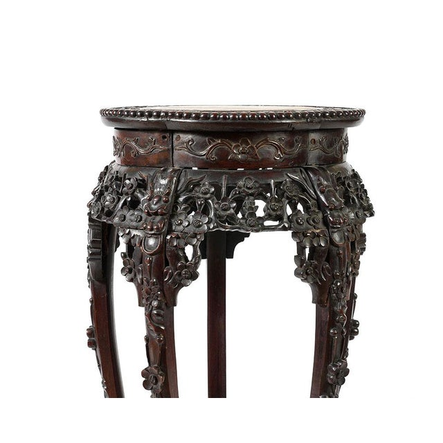 Antique Chinese Rosewood Pedestal or Stand With Marble Top, Qing Dynasty For Sale - Image 4 of 8