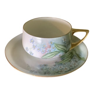 Vintage Rosenthal Bavaria Hand Painted Cup & Saucer Set - a Pair For Sale