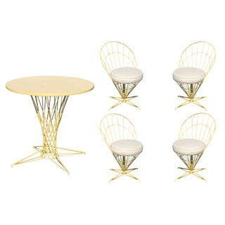 "Verner Panton Style Wire ""Cone"" Chairs and Dining Table Set For Sale"