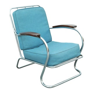 1940s Vintage Kem Weber Lloyd Chrome Lounge Chair For Sale