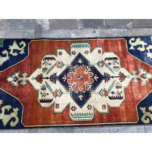 Textile 1960s Vintage Turkish Oushak Floral Rug - 3′10″ × 8′3″ For Sale - Image 7 of 11