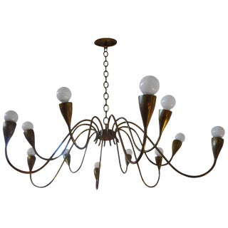 1960s Italian Mid Century Modern Brass Chandelier For Sale