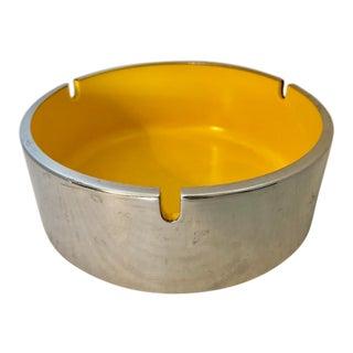 Vintage Bakelite Yellow & Chrome Ashtray For Sale