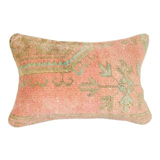Vintage Oushak Rug Pillow Cover, Distressed Ethnic Faded Pillow 14'' X 20'' (35 X 50 Cm) For Sale