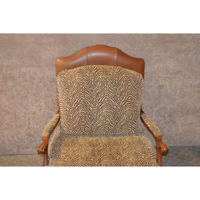 Queen Anne Ethan Allen Multi Fabric Oversized Chair & Ottoman For Sale - Image 3 of 13