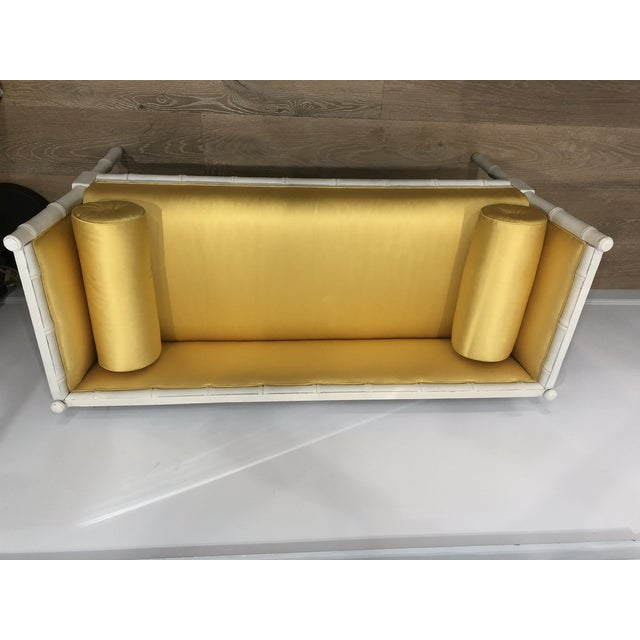 Gold Vintage Mid-Century Faux Bamboo & Gold Satin Bench For Sale - Image 8 of 9