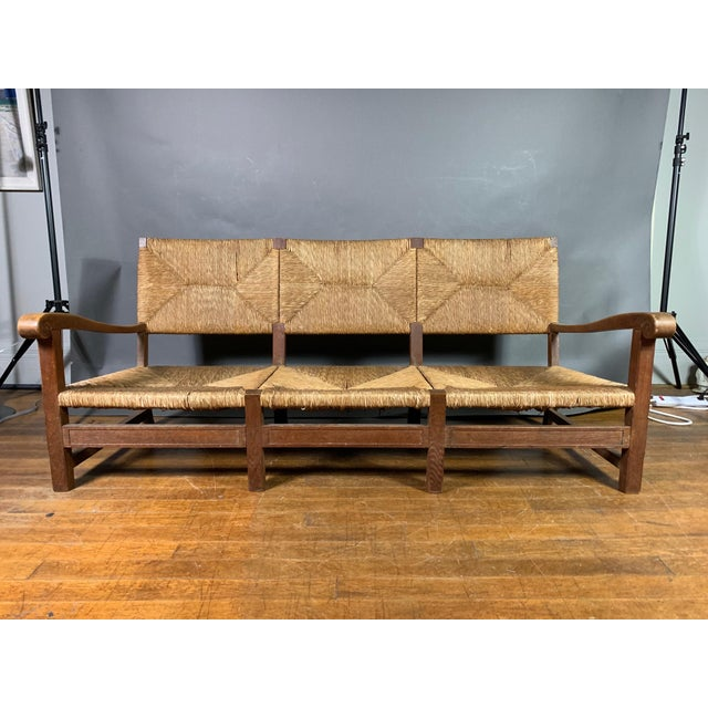 """Purchased in Sweden, though unclear as to origin - this 1940s country settee is large (73"""" length) and deep - so has..."""