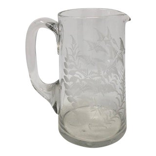 19th Century English Etched Glass Pitcher For Sale