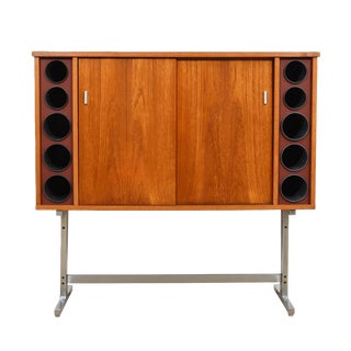 Danish Modern Standing Bar Cabinet in Teak and Chrome by Poul Heltborg For Sale