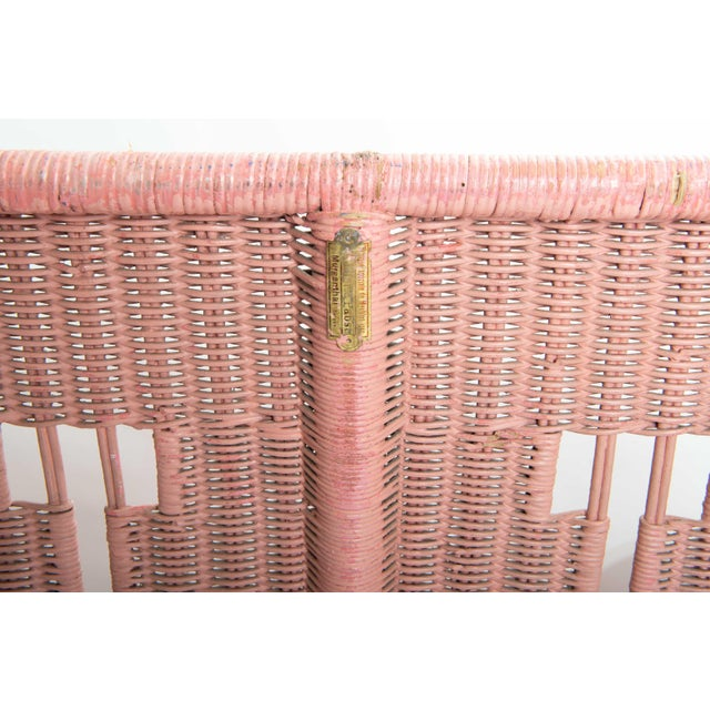 1950s Boho Chic Pink Rattan Settee or Love Seat For Sale - Image 10 of 11
