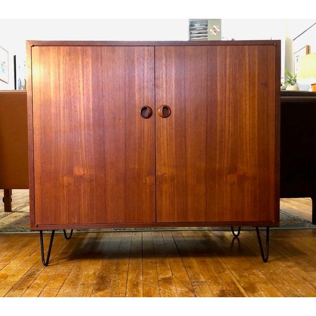 Metal Danish Modern Teak Cabinet/Credenza 1960's For Sale - Image 7 of 7