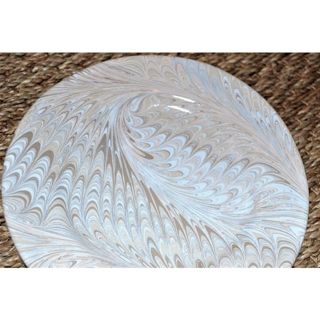 2010s Brown Firenze Marbleized Ceramic Cocktail Plates - Set of 4 For Sale - Image 5 of 6