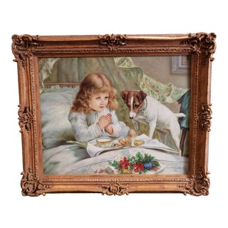 "After Charles Burton Barber ""Suspense"" Oil Painting by J. Morgan (Tae Jung) (South Korea) (20th Century) For Sale"