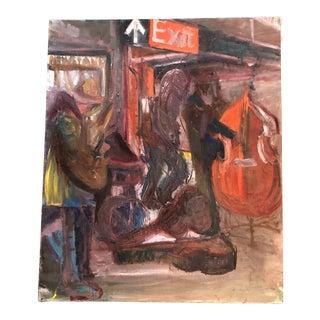 Original Vintage Street Musicians Painting For Sale