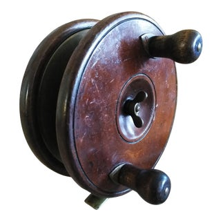 Antique Wood and Brass Fly Reel For Sale