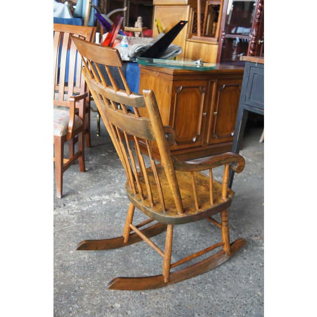 19th Century Antique Chestnut Windsor Comb Back Rocking Chair For Sale - Image 6 of 13