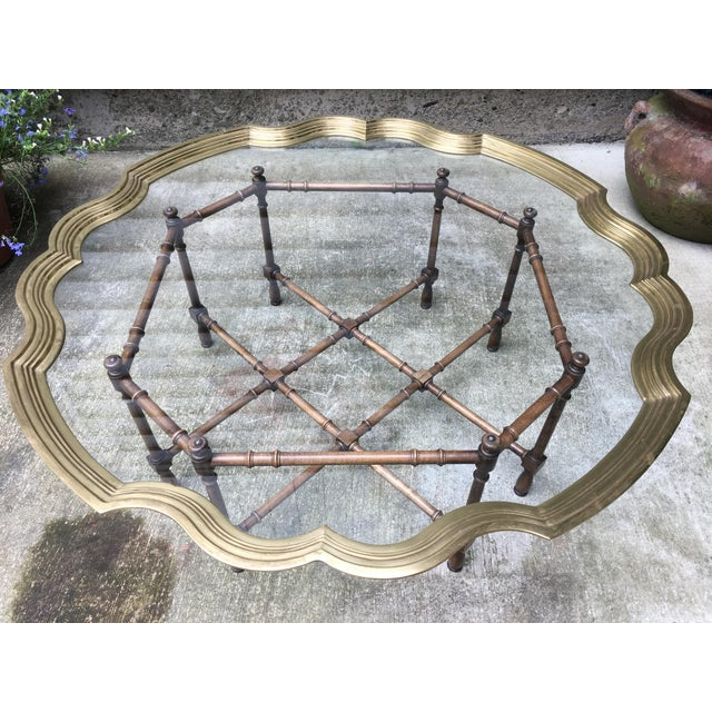 Mid 20th Century 20th Century Chinoiserie Style Glass & Brass Cocktail Tray Table For Sale - Image 5 of 13