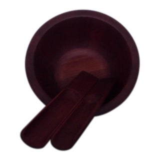Jens Quistgaard Dansk Teak Salad Bowl With Serving Set For Sale