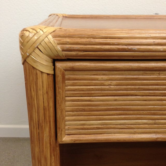 Island Style Wood & Rattan Nightstands - A Pair For Sale - Image 5 of 8