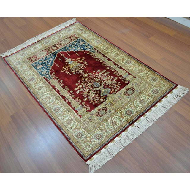 Hand Knotted Turkish Silk Rug - 3′1″ × 4′5″ - Image 3 of 9