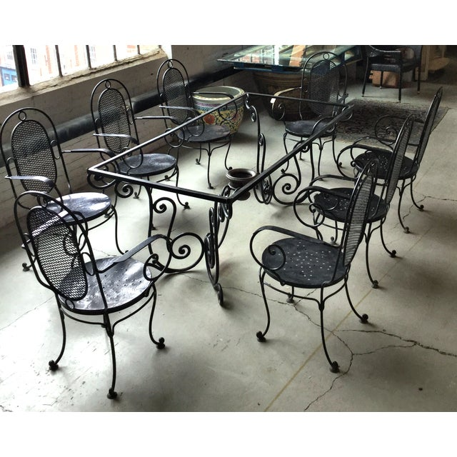 1900 - 1909 1900s Art Nouveau Indoor and Outdoor Iron Dining Set - 9 Pieces For Sale - Image 5 of 11