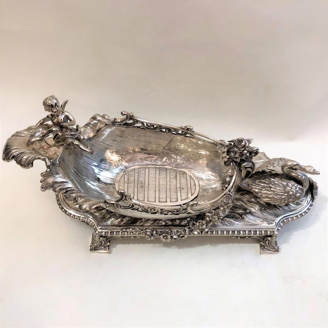French Antique French Silvered Bronze Centerpiece, Circa 1890. For Sale - Image 3 of 4