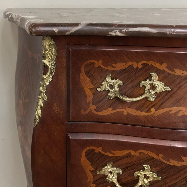 Antique French Louis XV Bombe Marquetry Marble Top Commode For Sale - Image 10 of 13