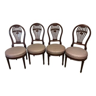 1990s English Traditional John Widdicomb Balloon Back Dining Chairs - Set of 4 For Sale