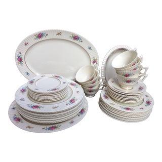 Lenox Fluted Porcelain Pavlova Floral Service for 8 with Serving Pieces - 43 Pieces For Sale
