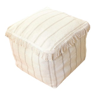 Ticking Stripe Handwoven Ottoman Pouf For Sale