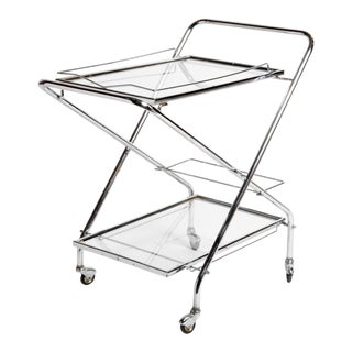 Mid-Century Modern Hungarian Metal Serving Cart For Sale