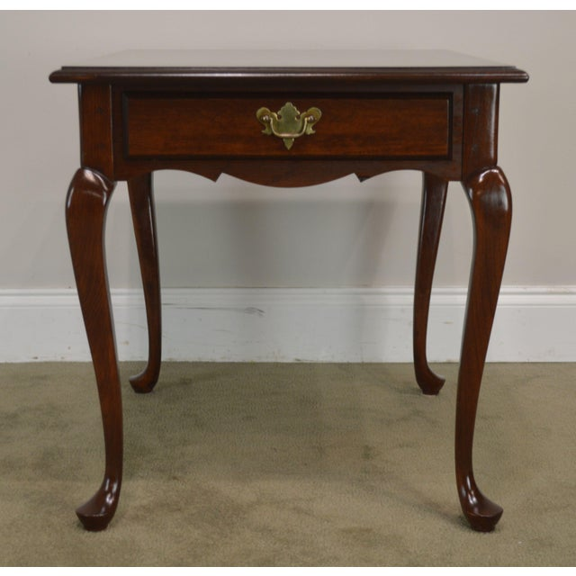 Hitchcock Old Litchfield Solid Cherry Pair Queen Anne One Drawer Side Tables For Sale - Image 11 of 13