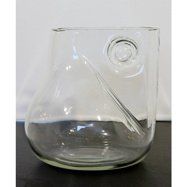 Transparent Mid-Century Modern Signed Alfredo Barbini Murano Glass Art Vase Pitcher, Italy For Sale - Image 8 of 11