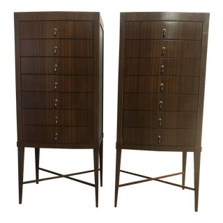 Contemporary Tall Chests of Drawers - a Pair For Sale