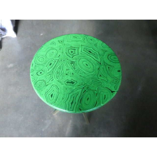 Metal 1960s Mid Century Faux Malachite Fornasetti Side Table For Sale - Image 7 of 10