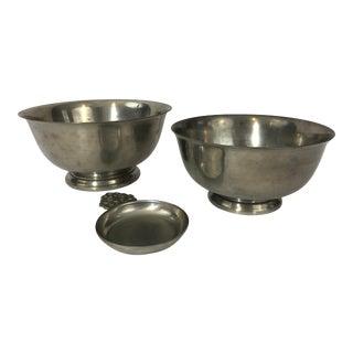 Silver Plate Reed & Barton Revere Bowl & International Pewter Revere Bowl & Pewter Tastevin For Sale