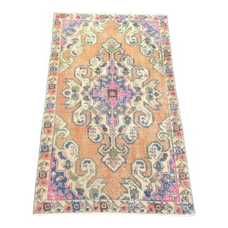 1960s Vintage Turkish Wool & Cotton Rug - 4′2″ × 7′2″ For Sale