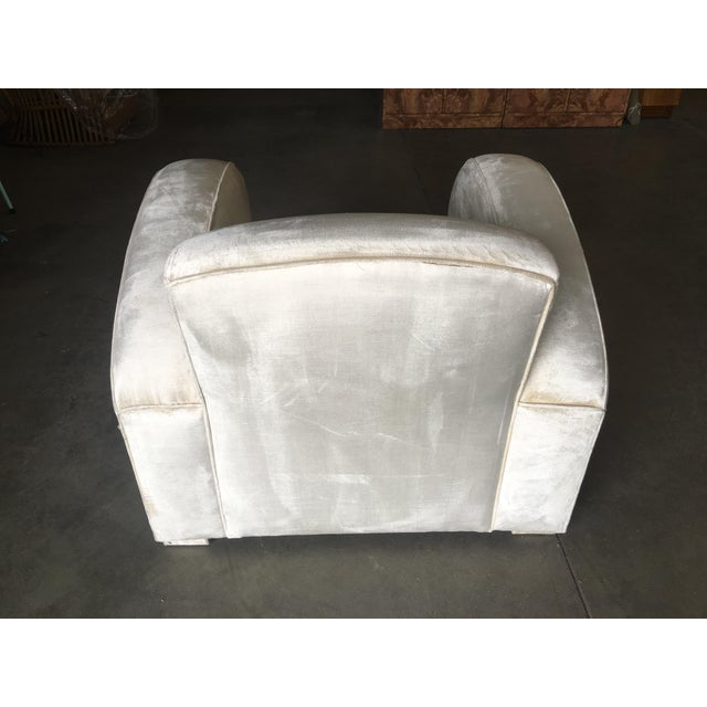 Art Deco Pearl White Mohair Jazz Club Chair W/ Speed Arms For Sale - Image 10 of 11