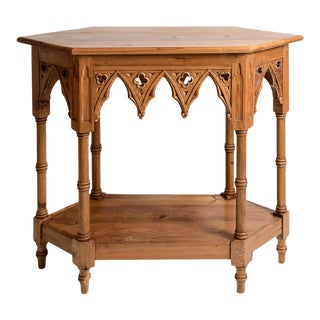 Gothic Style Console Table, C.1920 English Natural Wood For Sale