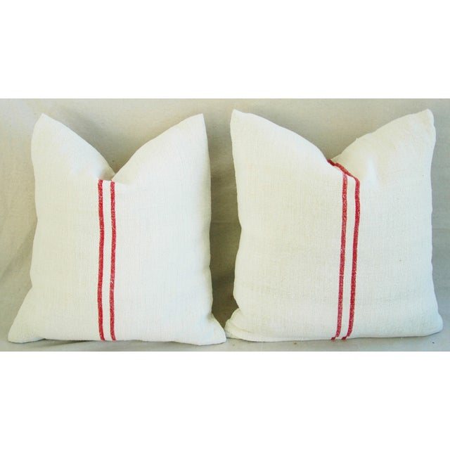 French Red Striped Grain Sack Down/Feather Pillows - Pair For Sale In Los Angeles - Image 6 of 10