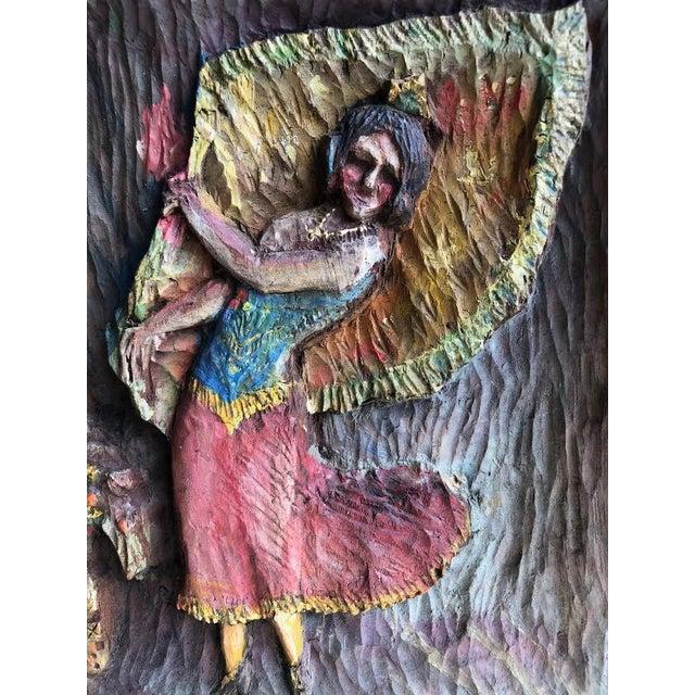 """Folk Art 1936 Vintage """"Dancing Dee"""" Folk Art Hand Carved Plaque For Sale - Image 3 of 7"""